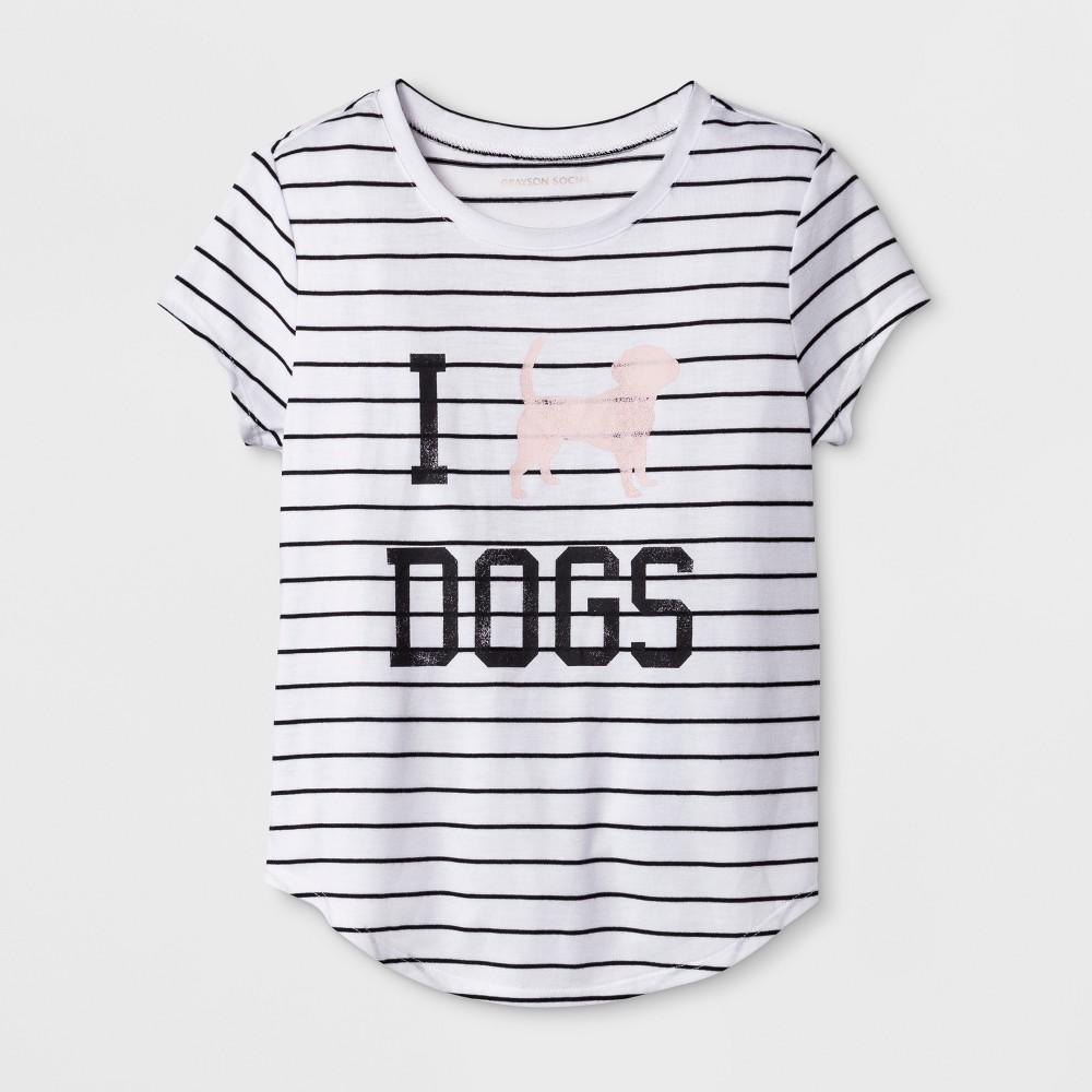 Grayson Social Girls' 'I Love Dogs' Graphic Striped Short Sleeve T-Shirt - White/Black L