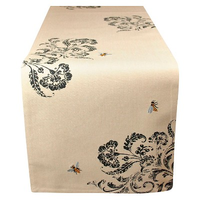 70 x14  Embroidered Busy Bees Table Runner Natural - Design Imports