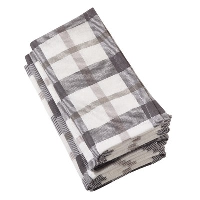 Gray Plaid Napkin - Saro Lifestyle