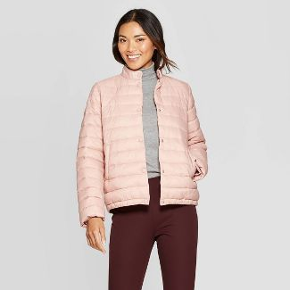 Women's Short Quilted Puffer Jacket - A New Day™ Pink M