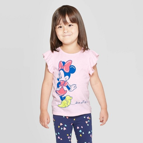 Toddler Girls' Minnie Mouse Beautiful Short Sleeve T-Shirt - Pink - image 1 of 3