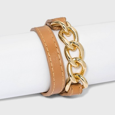 Faux Leather Bracelet with Chain Links - A New Day™