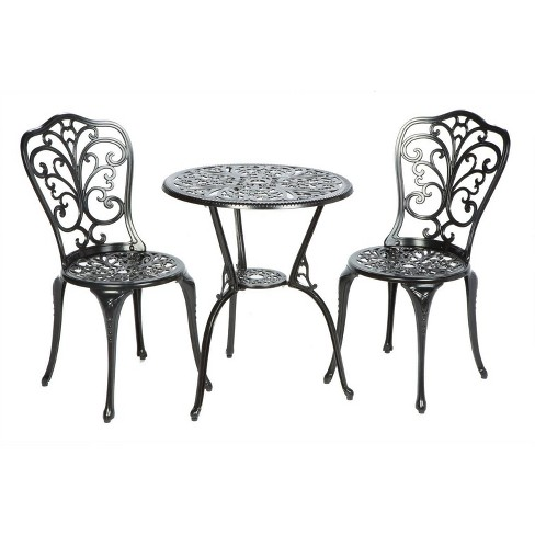 Triora Cast Aluminum 3pc Bistro Set with Round Table & 2 Chairs - Alfresco Home - image 1 of 3