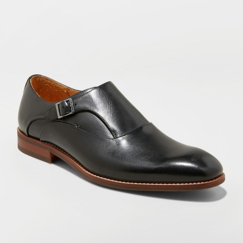 Men's Keanu Leather Monk Strap Dress Shoes - Goodfellow & Co™ Black - image 1 of 3