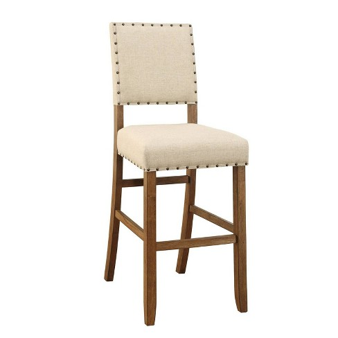 Set of 2 Rustic Bar Chairs in Ivory Linen Natural - Benzara - image 1 of 4