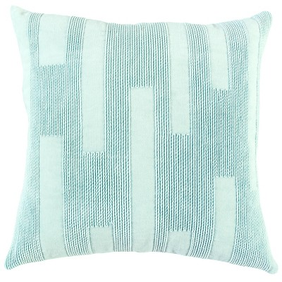 """20""""x20"""" Oversize Polyester Filled Solid Square Throw Pillow Light Blue - Rizzy Home"""