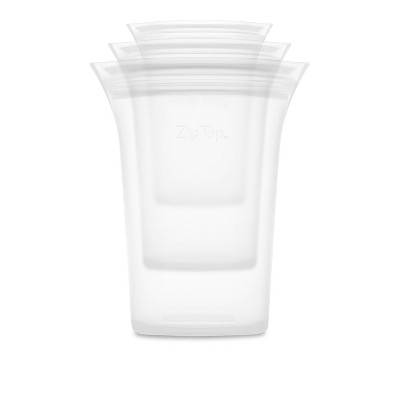 Zip Top Reusable 100% Platinum Silicone Container - 3 Cup Set (S/M/L)- Clear