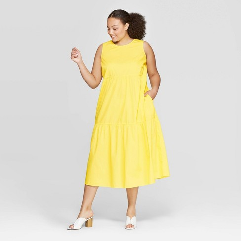 Women\'s Plus Size Sleeveless Crewneck Tiered Maxi Dress - Who What Wear™  Yellow