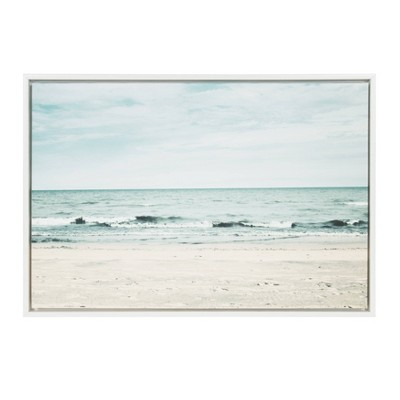 "23"" x 33"" Sylvie Beach 2 Framed Canvas by F2 Images White - Kate and Laurel"