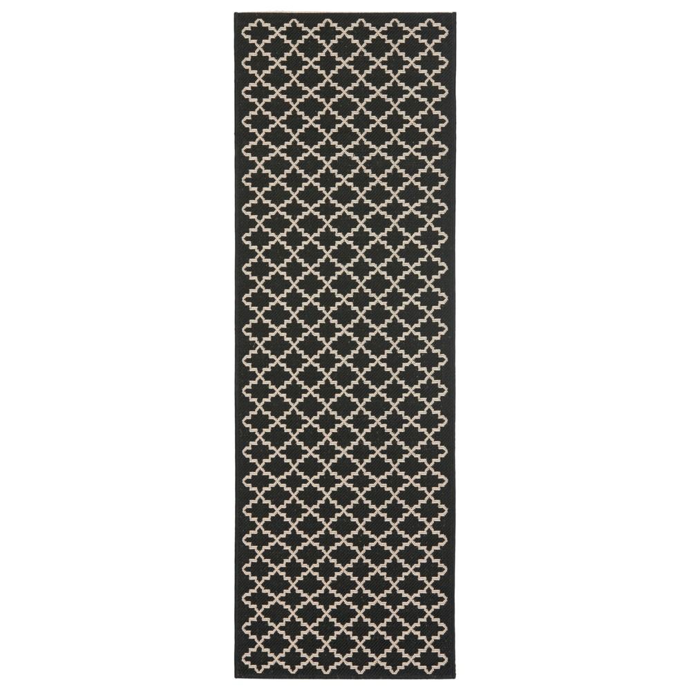 2'4 x 14' Durres Outdoor Rug Black/Beige - Safavieh