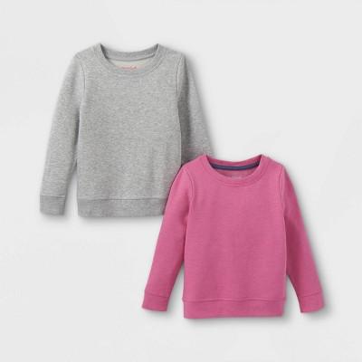 Toddler Girls' 2pk Fleece Pullover Sweatshirt - Cat & Jack™ Pink/Gray