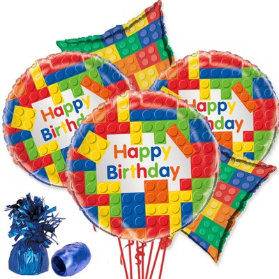 Birthday Express Block Party Balloon Bouquet - 5 Pack