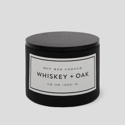 12oz Matte Glass Jar 3-Wick Candle Whiskey & Oak - Project 62™