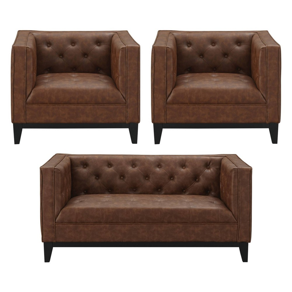 3pc Cadman Faux Leather 2 Seat Loveseat and 2 Armchairs Camel Brown - Manhattan Comfort