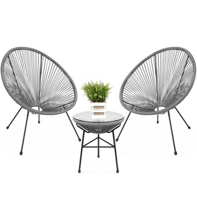 Best Choice Products 3-Piece All-Weather Patio Acapulco Bistro Furniture Set w/ Rope, Glass Top Table