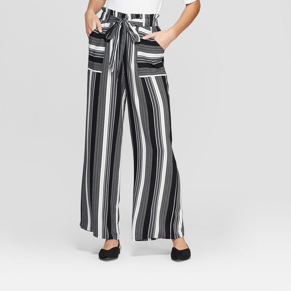 Women's Striped Tie Front Palazzo Pants With Pockets - Xhilaration Black/White XS