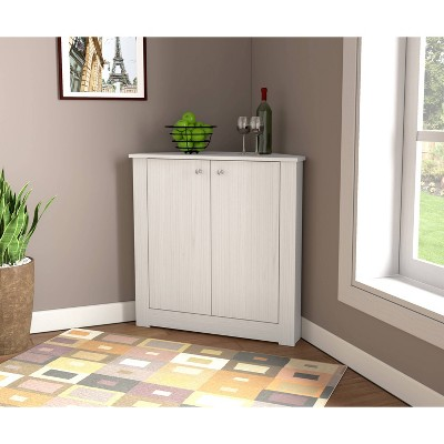 1 Shelf Corner Storage Cabinet Washed Oak - Inval