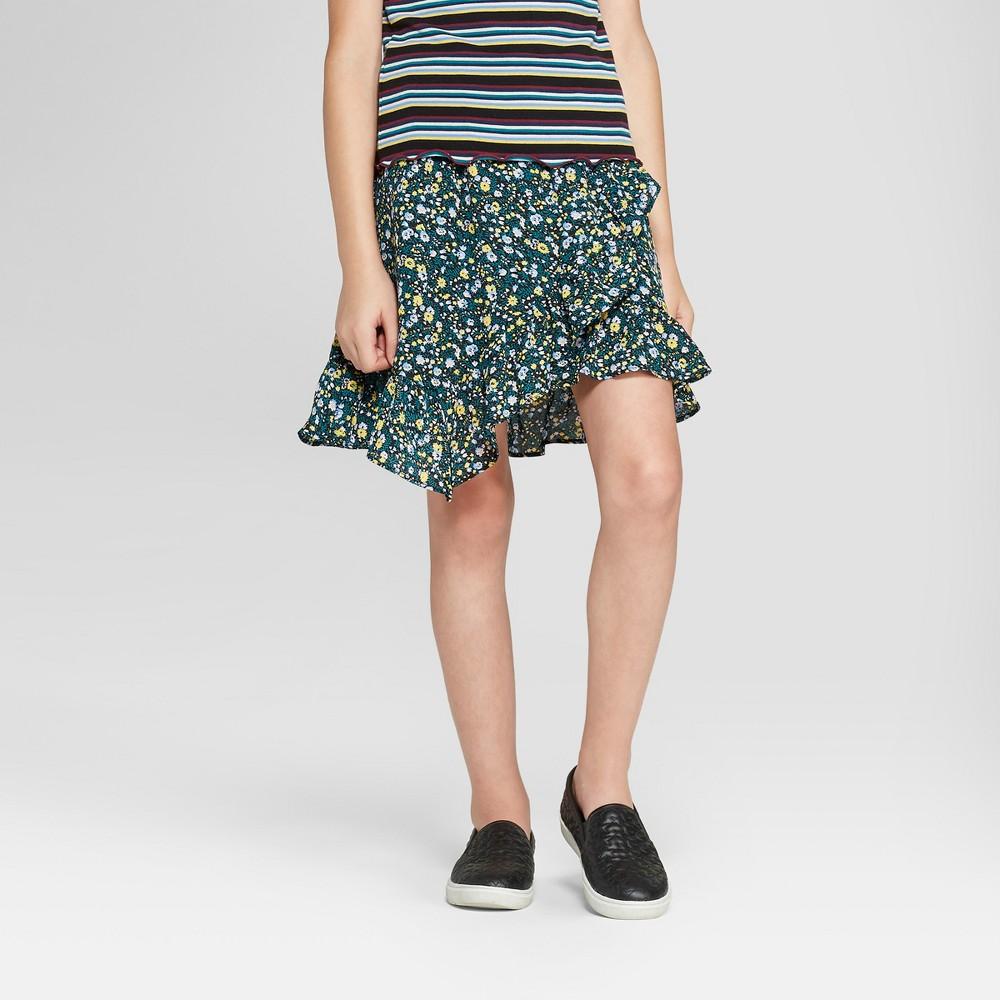 Girls' Floral Woven Short Skirt - art class Green Xxl