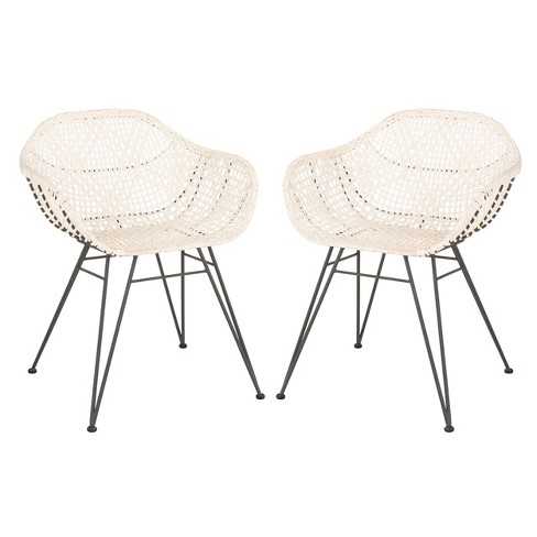 Set of 2 Jadis Leather Woven Dining Chair White - Safavieh - image 1 of 4