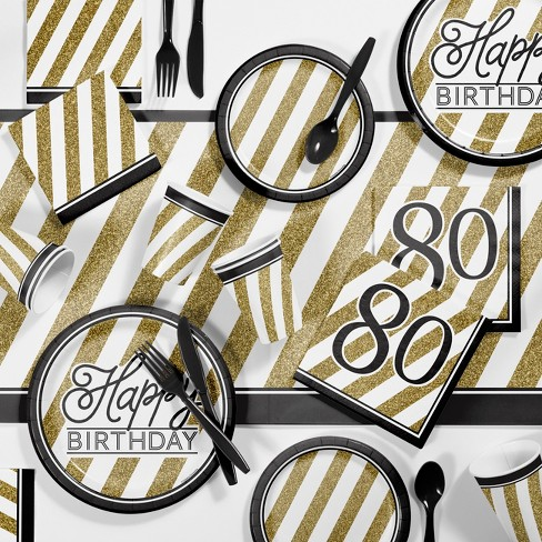 80th Birthday Party Supplies Kit Black Gold Target