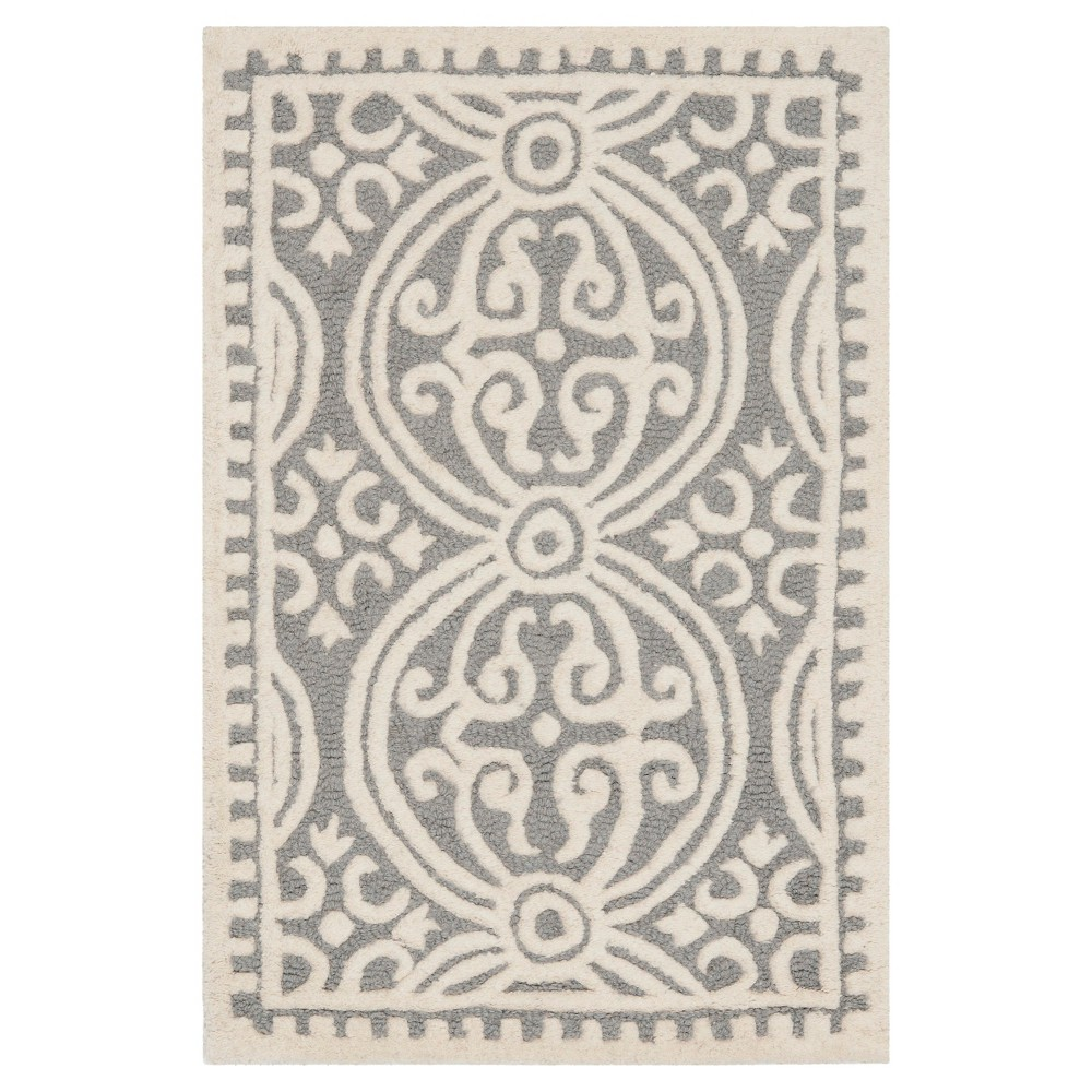 Silver/Ivory Geometric Tufted Accent Rug 2'X3' - Safavieh