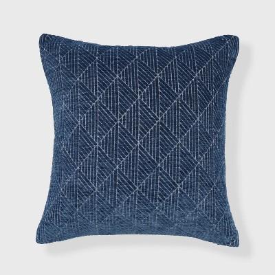 "18""x18"" Geometric Chenille Woven Jacquard Reversible Throw Pillow Blue - freshmint"