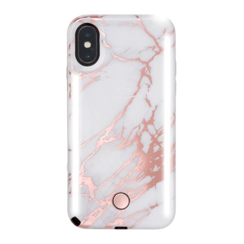 new arrival 7ff1b 8ec46 LuMee Apple iPhone X/XS Duo Marble Case - White/Metallic Rose