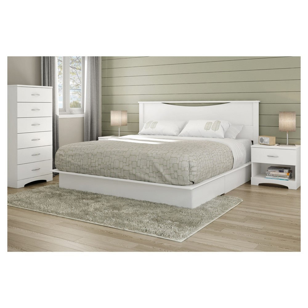 Step One Platform Bed - King - Pure White - South Shore