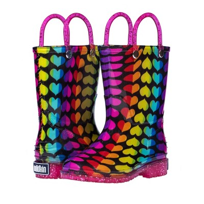 Wildkin Rainbow Hearts Rain Boots, size 7
