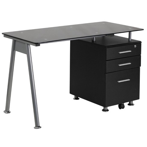 Glass Computer Desk with Three Drawer Pedestal - Black Glass Top/Silver Frame - Riverstone Furniture Collection - image 1 of 2