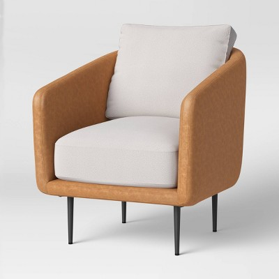 Barwick Upholstered Chair with Leather Back Cream - Project 62™