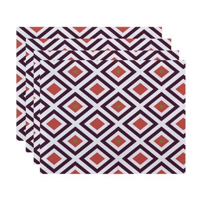 Set of 4 Purple Diamond Placemat - E by design
