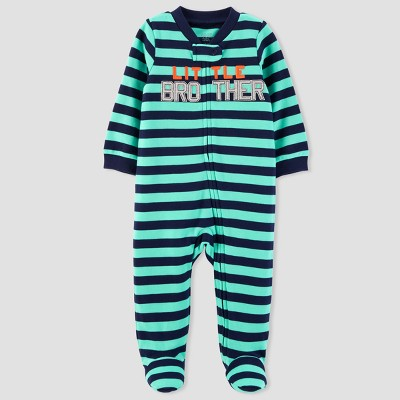 Baby Boys' Striped Little Brother Sleep N' Play - Just One You® made by carter's Teal Newborn