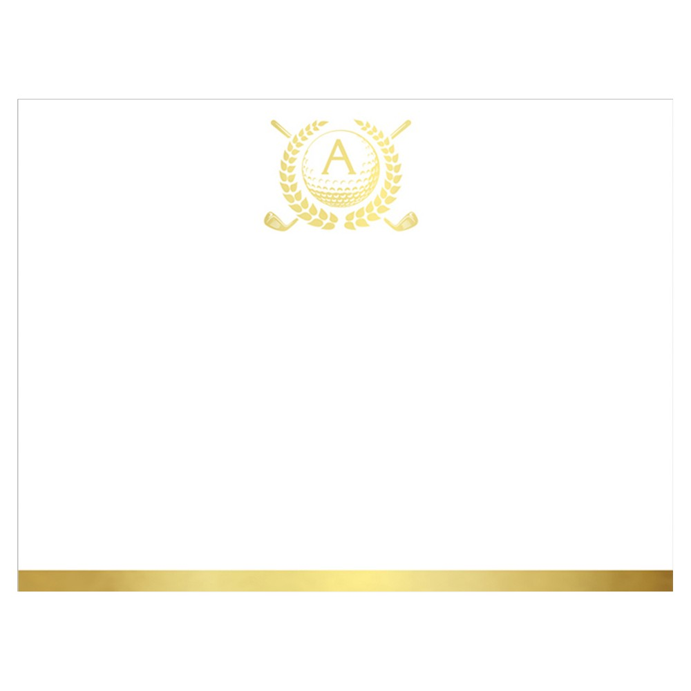 20ct Notecards Single Panel Monogram Gold Foil Stamped Initial - A, White