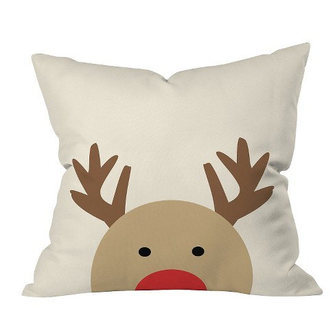 "Brown Animal Allyson Johnson Reindeer Throw Pillow (16""x16"") - Deny Designs® - image 1 of 1"