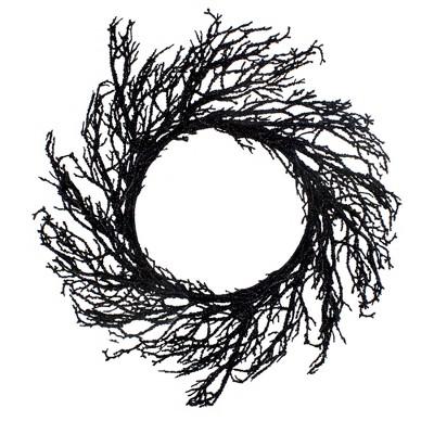 Northlight Black Twig Artificial Halloween Wreath, 24-Inch, Unlit