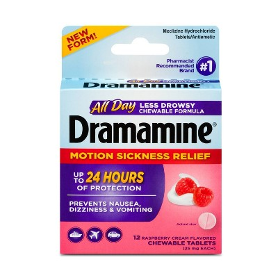 Dramamine All Day Less Drowsy Motion Sickness Relief Chewable Tablets - Raspberry Cream - 12ct