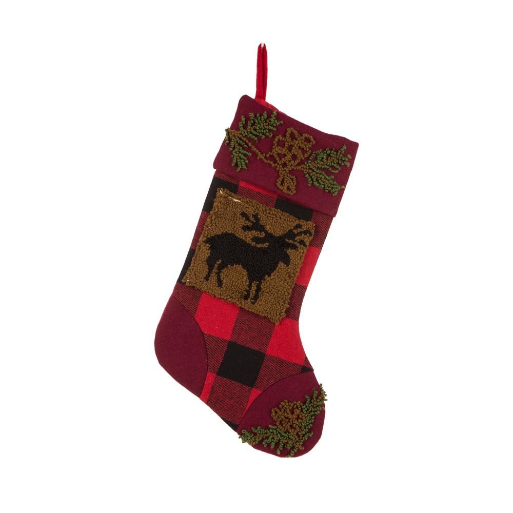 Image of Plaid Christmas Stocking Rug Hooked Reindeer - Glitzhome