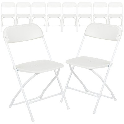 Emma and Oliver 10 Pack Commercial Wedding/Event Stackable Plastic Folding Chair