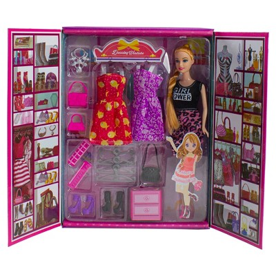 """Northlight 11"""" Vibrantly Colored Beauty Girl Power Dressing Wardrobe Set With Doll"""