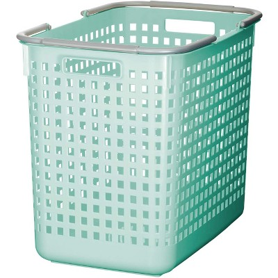 Like-it 12 x 19 x 15 Inch Large Midcentury Modern Scandinavian Style Square Durable Plastic Home Organizing Storage Basket, Mint Blue