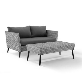 2pc Richland Outdoor Patio Loveseat and Coffee Table Set - Gray - Crosley