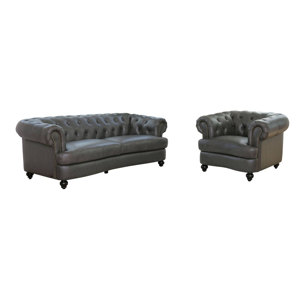Image of 2pc Harlow Tufted Top Grain Leather Sofa & Armchair Set Gray - Abbyson Living
