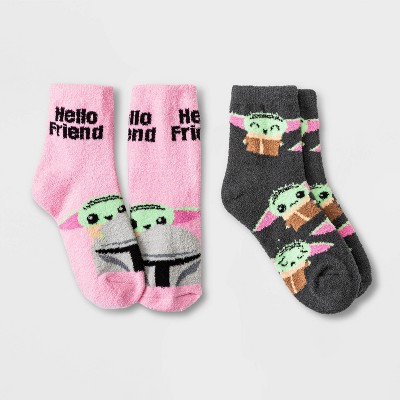 Women's Star Wars The Mandalorian 2pk Cozy Ankle Socks - Charcoal/Pink 4-10