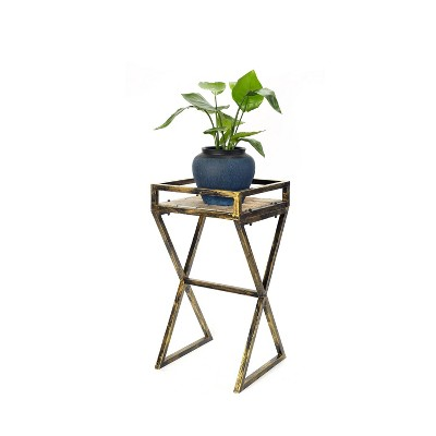 Metal Rectangular Plant Stand with Gray Stone Slab - Black/Gold - Ore International