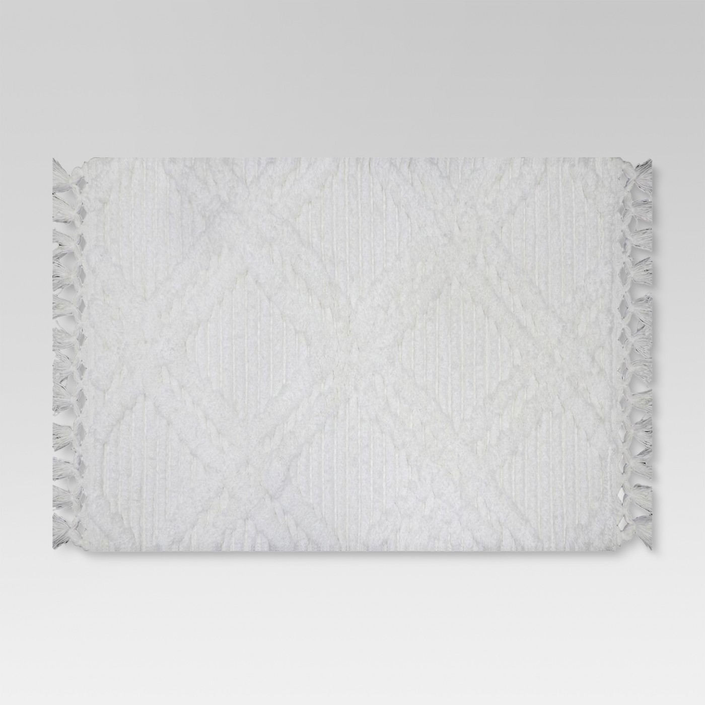 Diamond Embossed Tasseled woven Bath Rug White - Threshold™ - image 1 of 1
