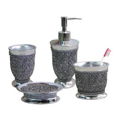4pc Beaded Heart Bath Accessory Set for Vanity Counter Tops Silver - Nu Steel