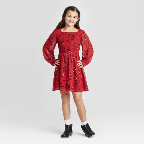 Girls' Long Sleeve Smocked Woven Dress - art class™ Red - image 1 of 3