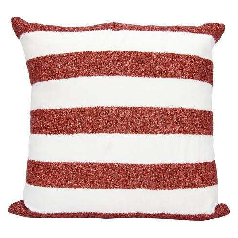 Oversize Square Throw Pillow Red White