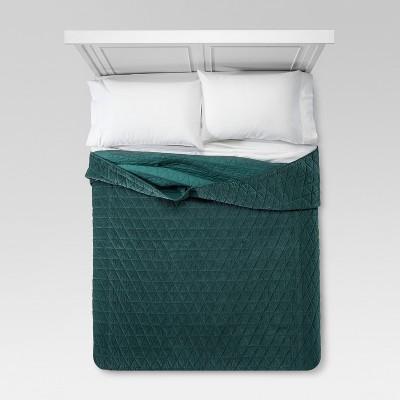 Green Vintage Wash Velvet Quilt (King)- Threshold™
